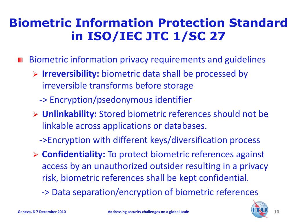 Biometric Information Protection Standard in ISO/IEC JTC 1/SC 27