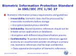 biometric information protection standard in iso iec jtc 1 sc 2710