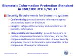 biometric information protection standard in iso iec jtc 1 sc 278