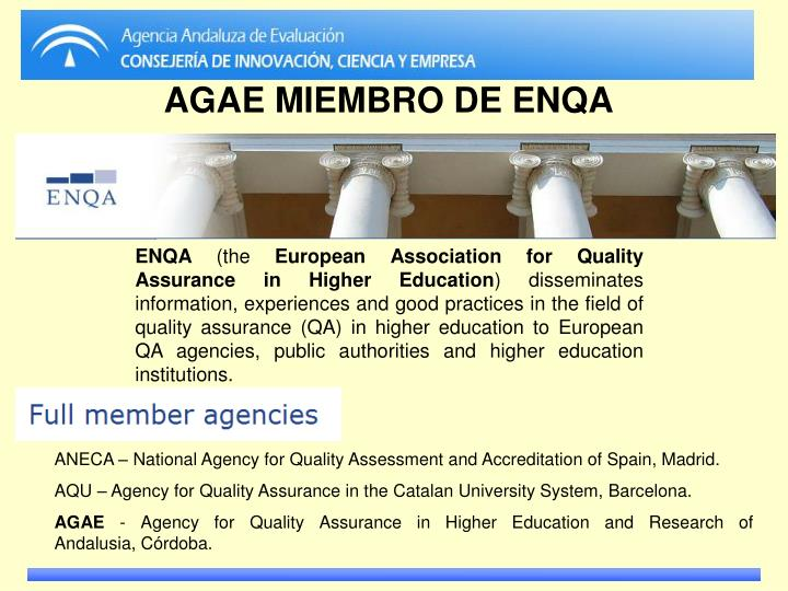 ANECA – National Agency for Quality Assessment and Accreditation of Spain, Madrid.