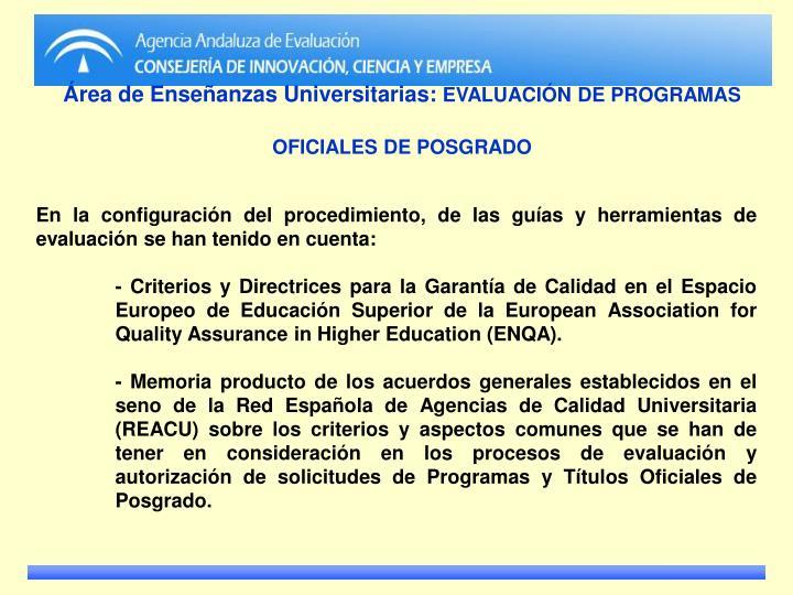 Área de Enseñanzas Universitarias: