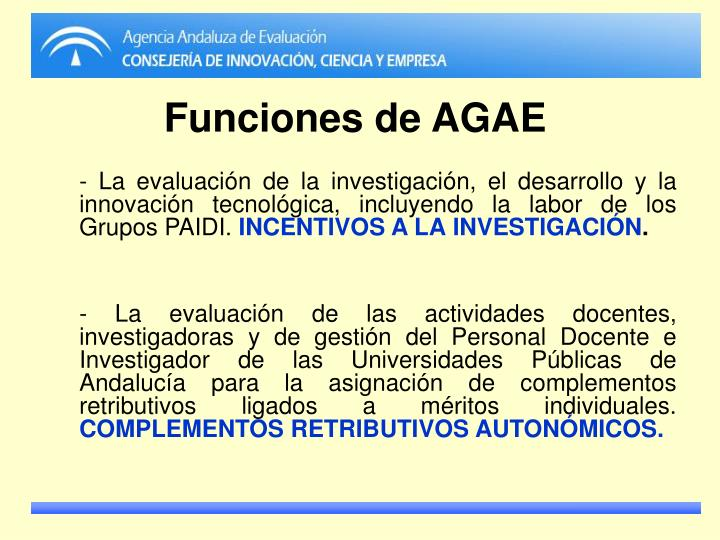Funciones de AGAE