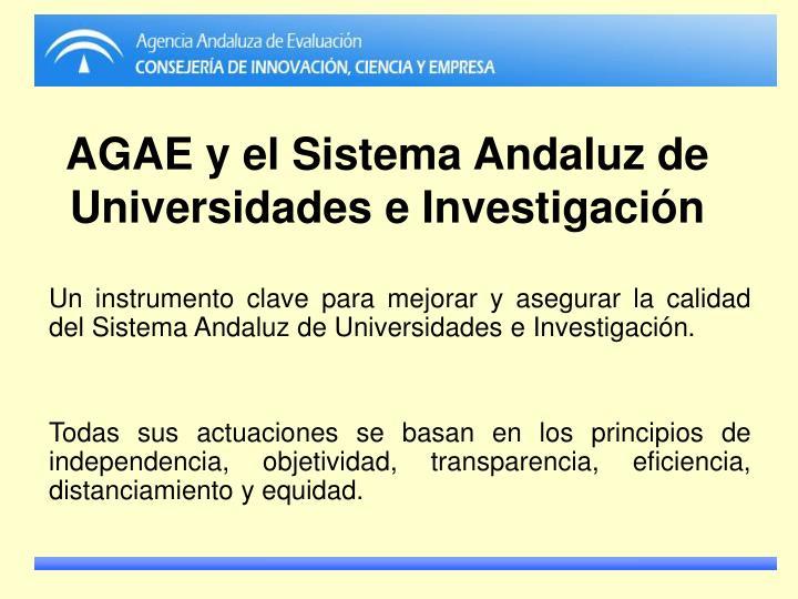 AGAE y el Sistema Andaluz de Universidades e Investigación