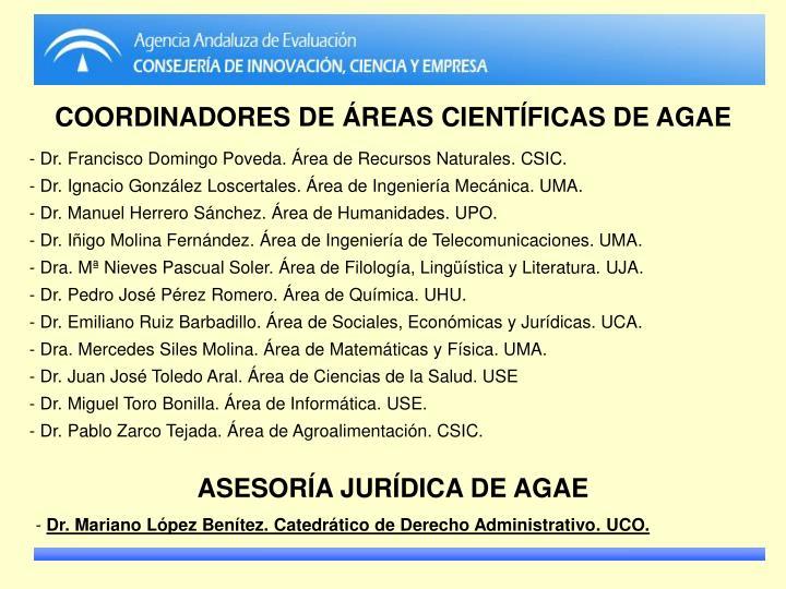 COORDINADORES DE ÁREAS CIENTÍFICAS DE AGAE