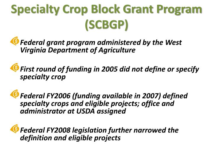 Specialty crop block grant program scbgp