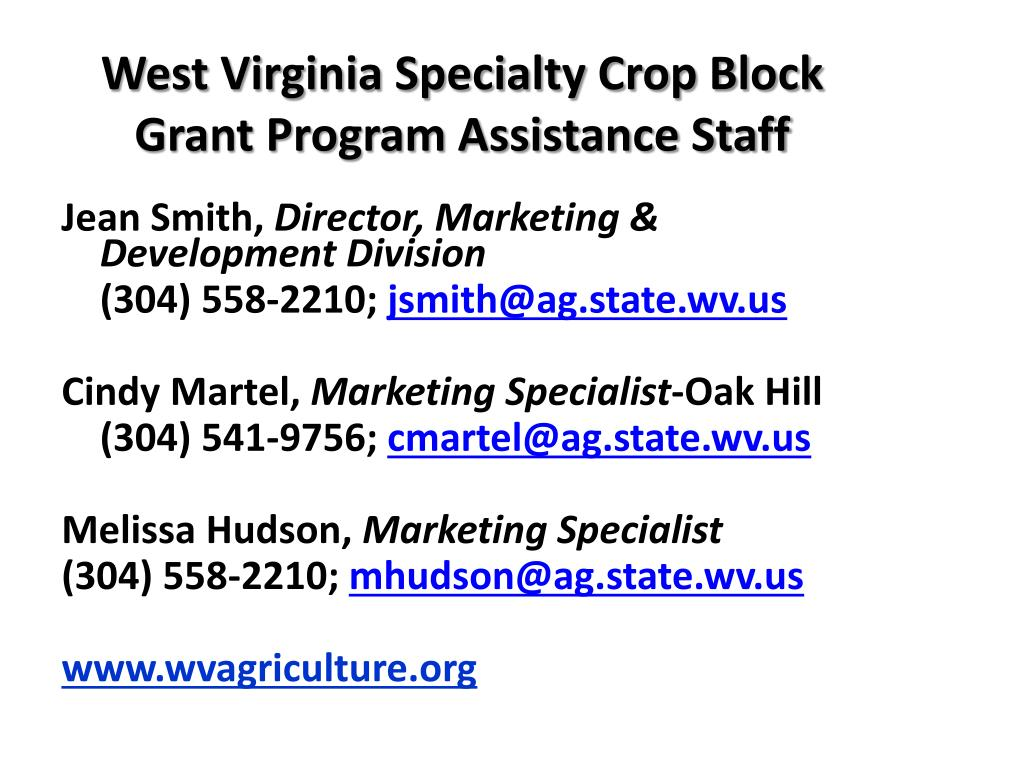 West Virginia Specialty Crop Block Grant Program Assistance Staff
