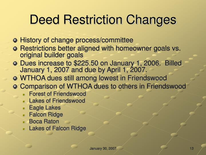 Deed Restriction Changes