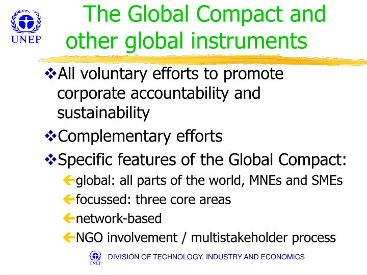 The Global Compact and other global instruments