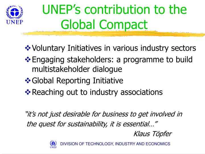UNEP's contribution to the Global Compact