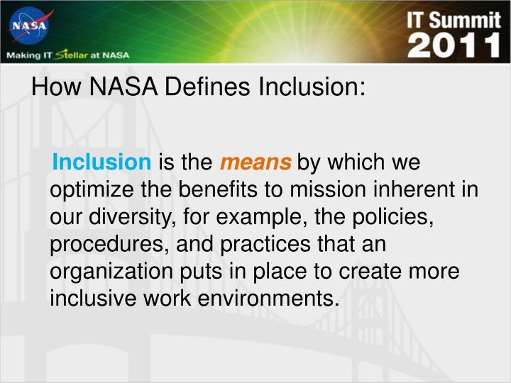 How NASA Defines Inclusion: