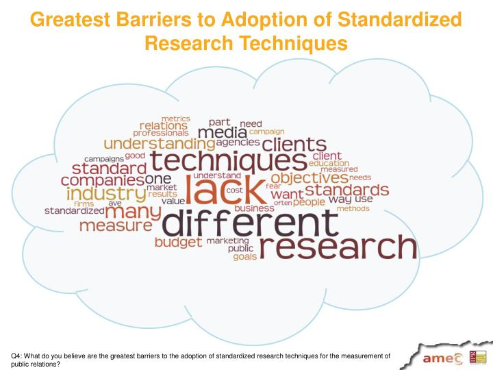 Greatest Barriers to Adoption of Standardized Research Techniques