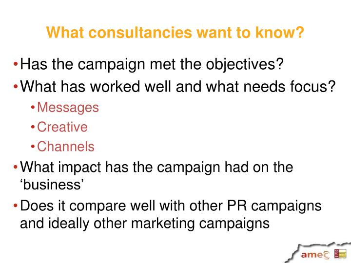 What consultancies want to know?