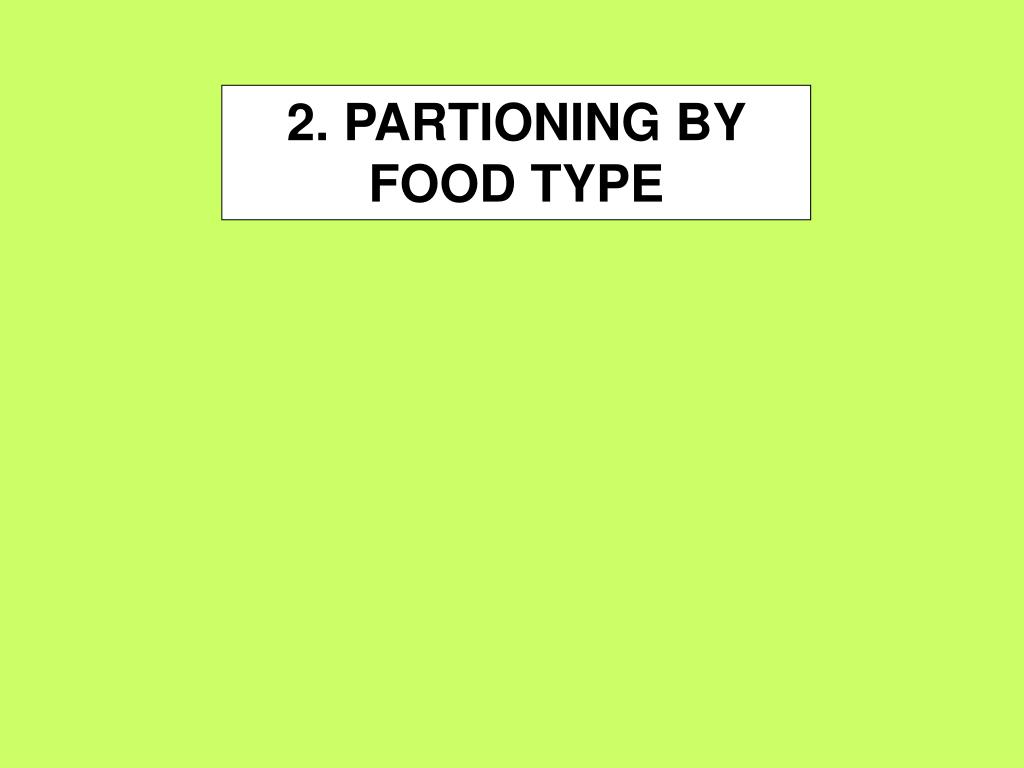 2. PARTIONING BY FOOD TYPE