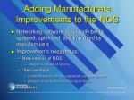 adding manufacturers improvements to the nos