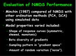 evaluation of nmds performance