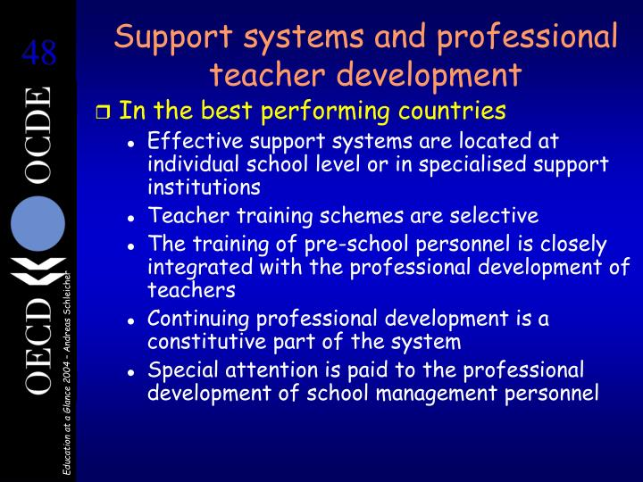 Support systems and professional teacher development