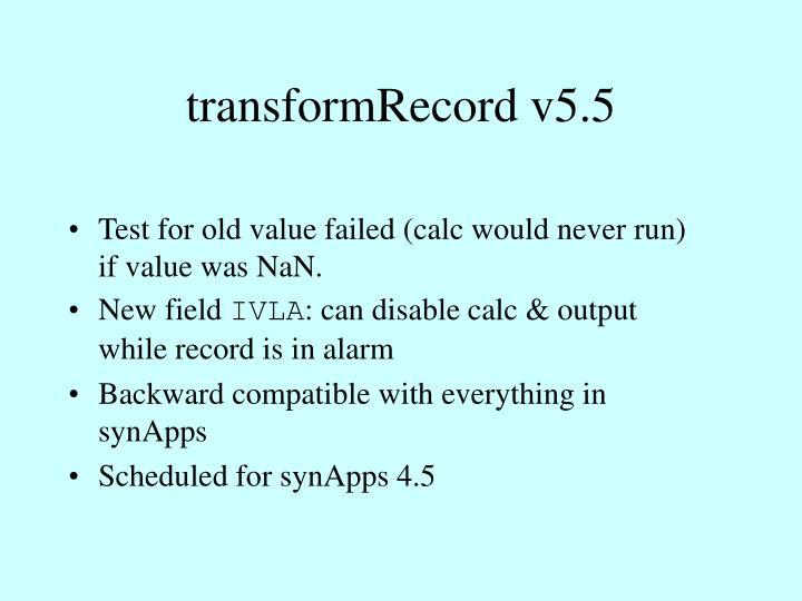 transformRecord v5.5