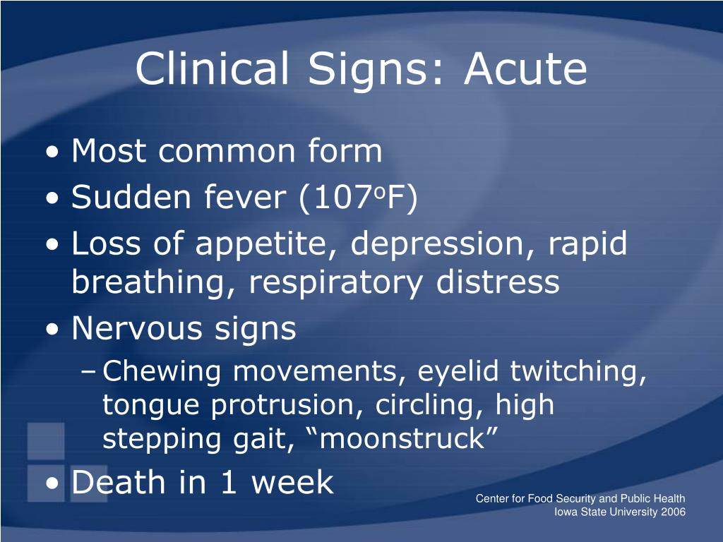 Clinical Signs: Acute