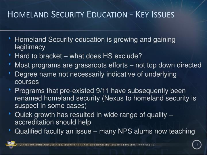 Homeland Security Education - Key Issues