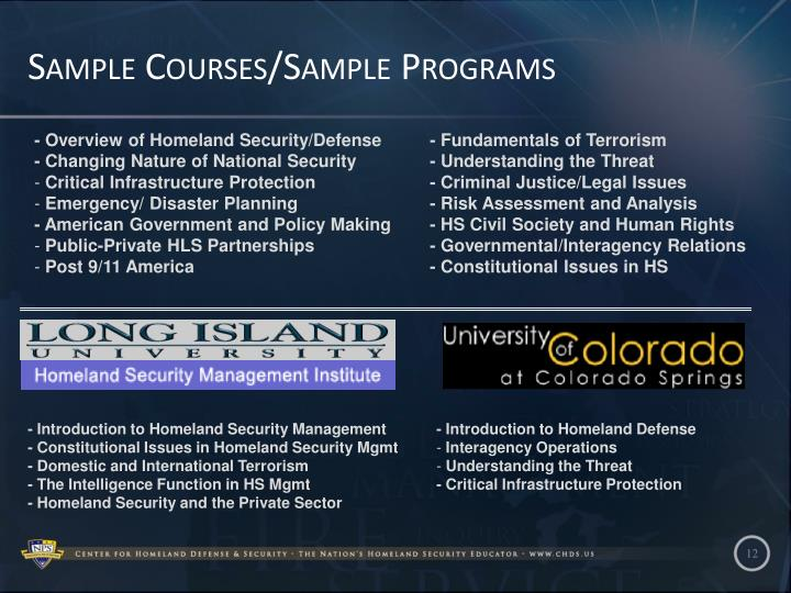 Sample Courses/Sample Programs