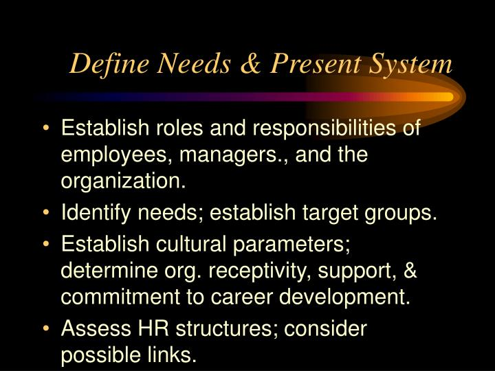 Define Needs & Present System