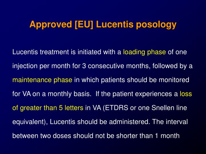 Approved [EU] Lucentis posology