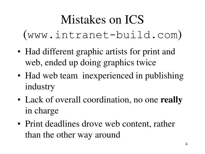 Mistakes on ICS (