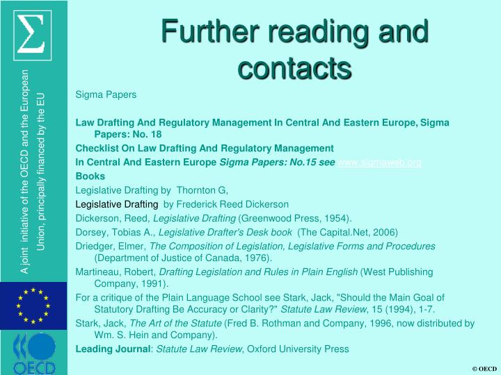 Further reading and contacts