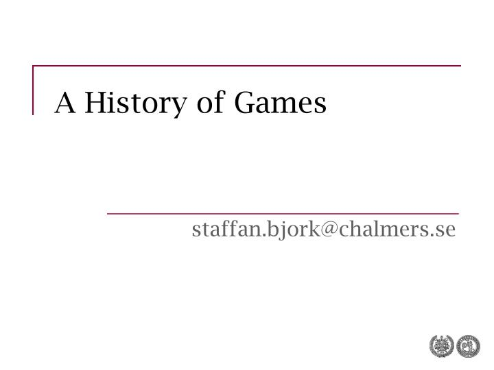 a history of games n.