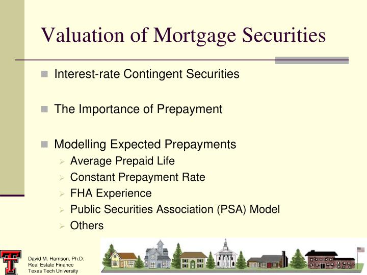 valuation of mortgage securities n.