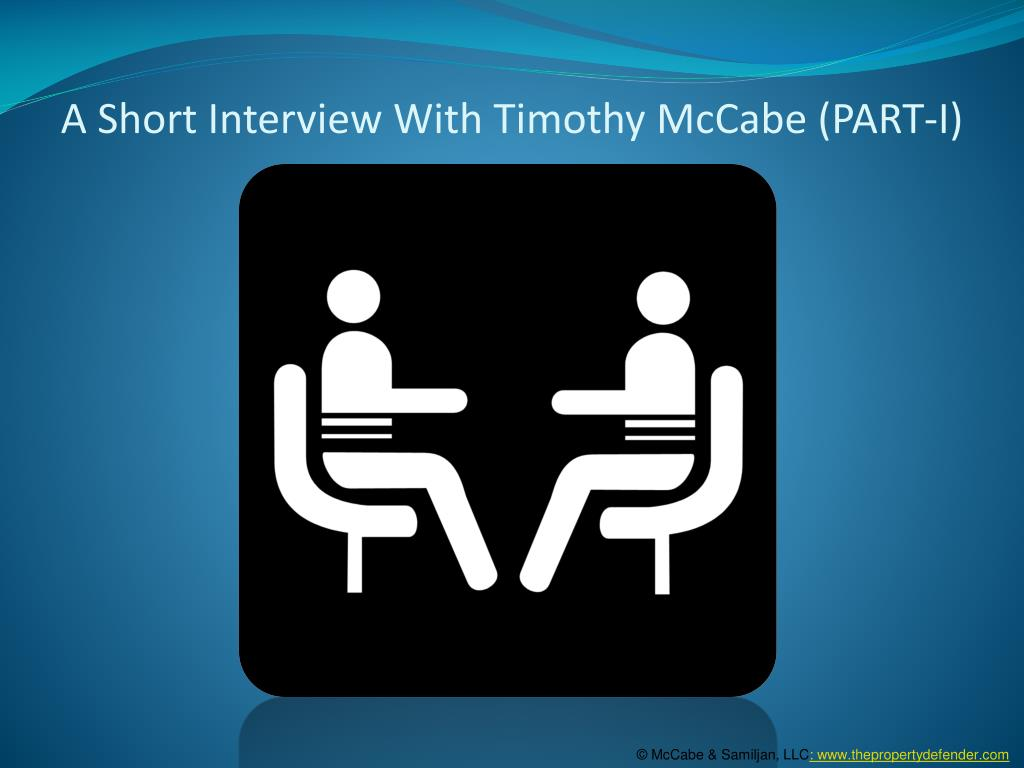 a short interview with timothy mccabe part i l.