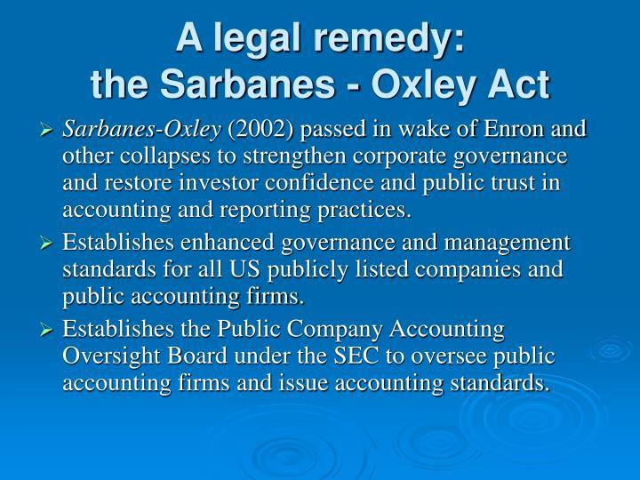 A legal remedy: