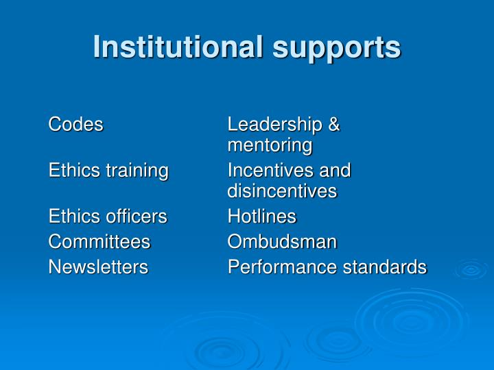 Institutional supports