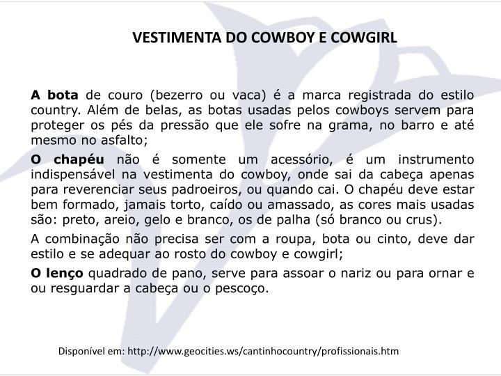 VESTIMENTA DO COWBOY E COWGIRL