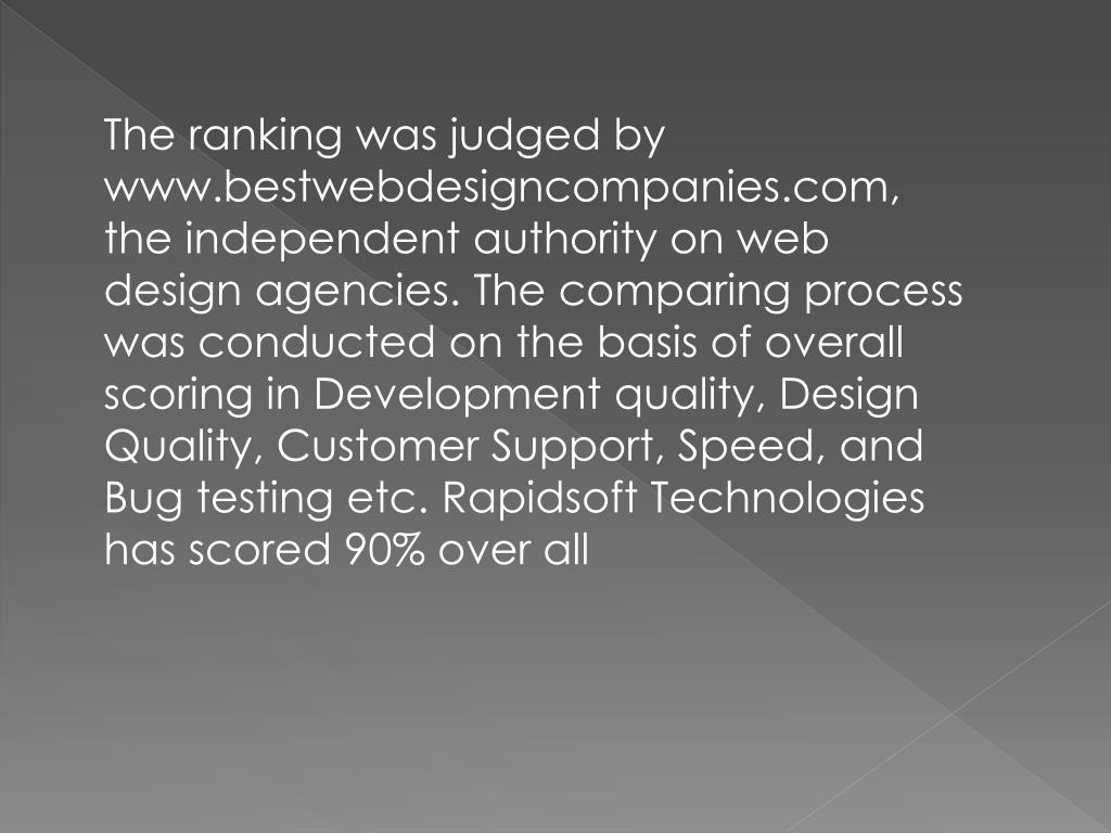 The ranking was judged by www.bestwebdesigncompanies.com, the independent authority on web design agencies. The comparing process was conducted on the basis of overall scoring in Development quality, Design Quality, Customer Support, Speed, and Bug testing etc. Rapidsoft Technologies has scored 90% over