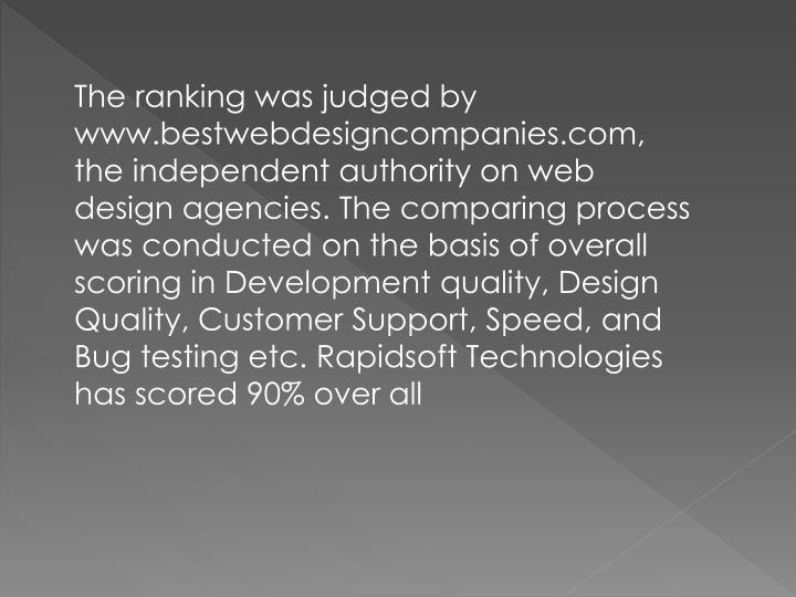 The ranking was judged by www.bestwebdesigncompanies.com, the independent authority on web design ag...