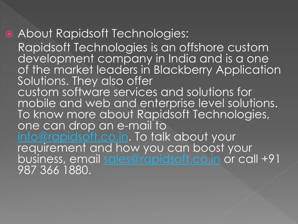 About Rapidsoft Technologies: