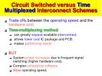 circuit switched versus time multiplexed interconnect schemes