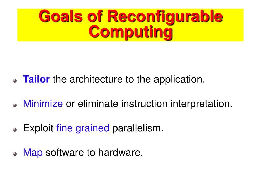 Goals of Reconfigurable Computing
