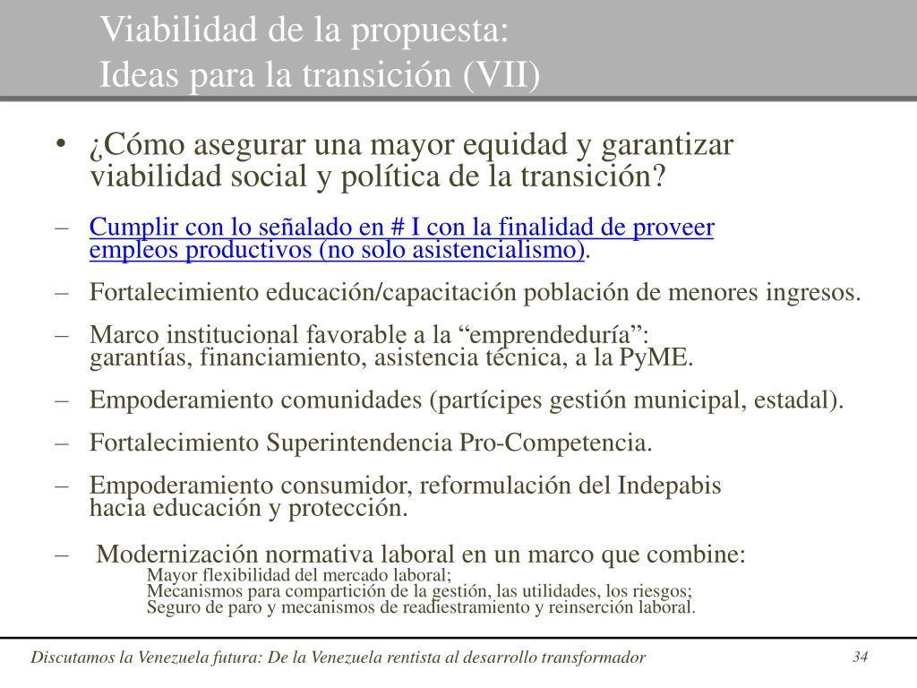 Viabilidad de la propuesta: