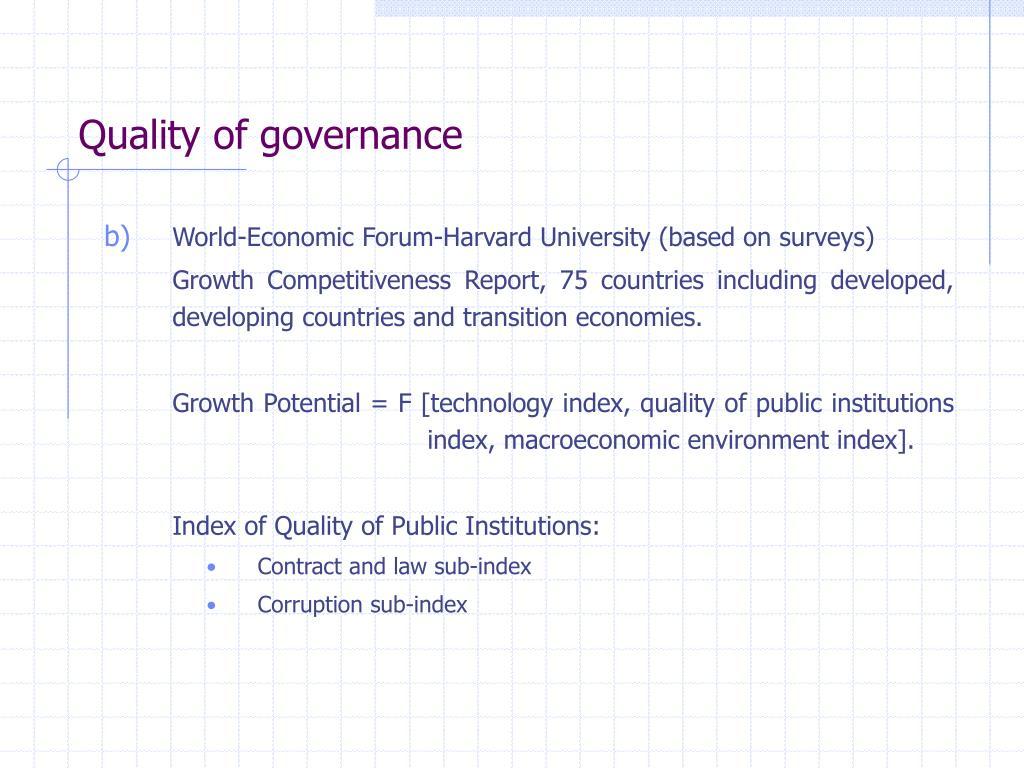Quality of governance