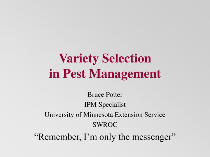 variety selection in pest management n.