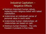 industrial capitalism negative effects