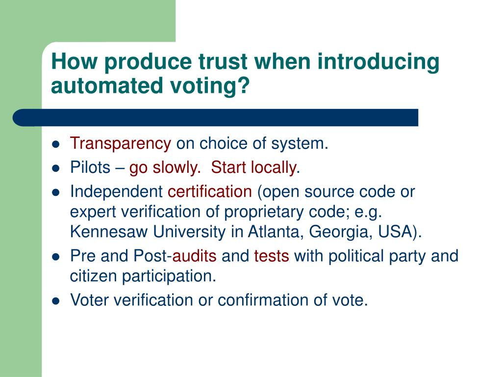 How produce trust when introducing automated voting?