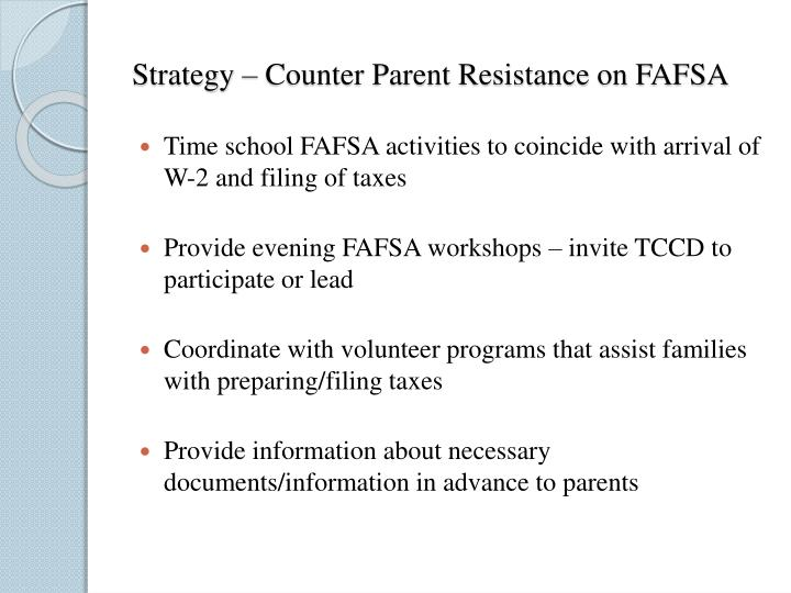 Strategy – Counter Parent Resistance on FAFSA
