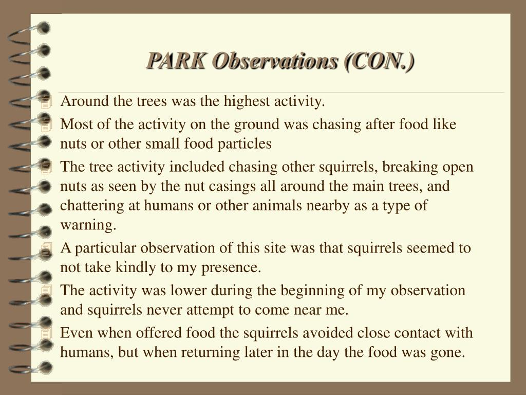 PARK Observations (CON.)