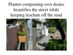 planter composting over drains beautifies the street while keeping leachate off the road