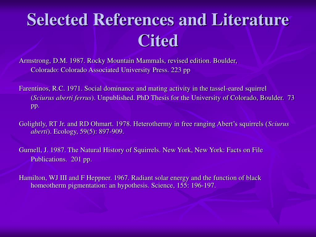 Selected References and Literature Cited