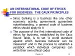 an international code of ethics for business the caux principles