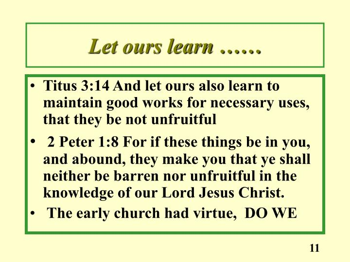 Let ours learn ……
